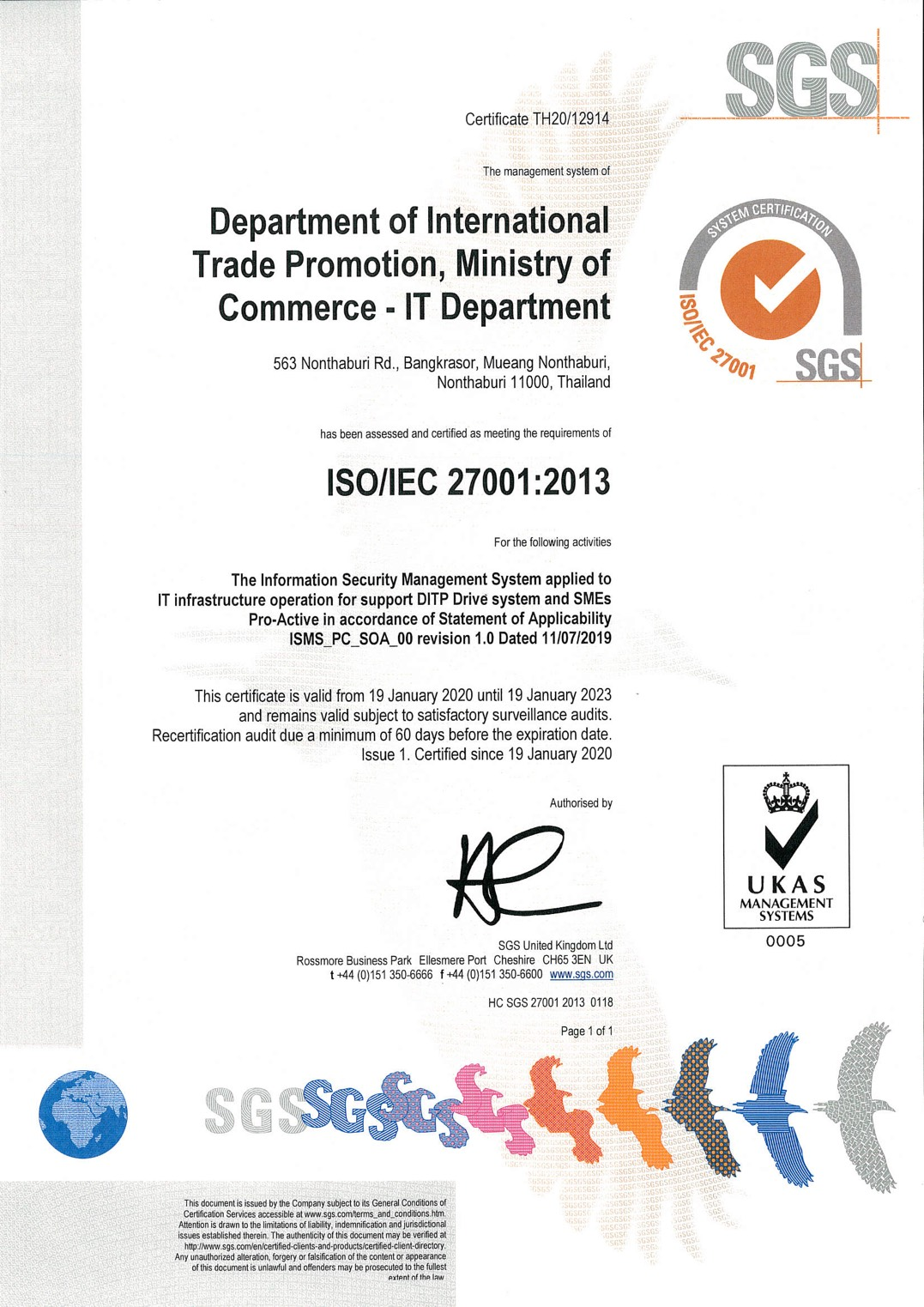 System Certification ISO/IEC 27001 (SGS)